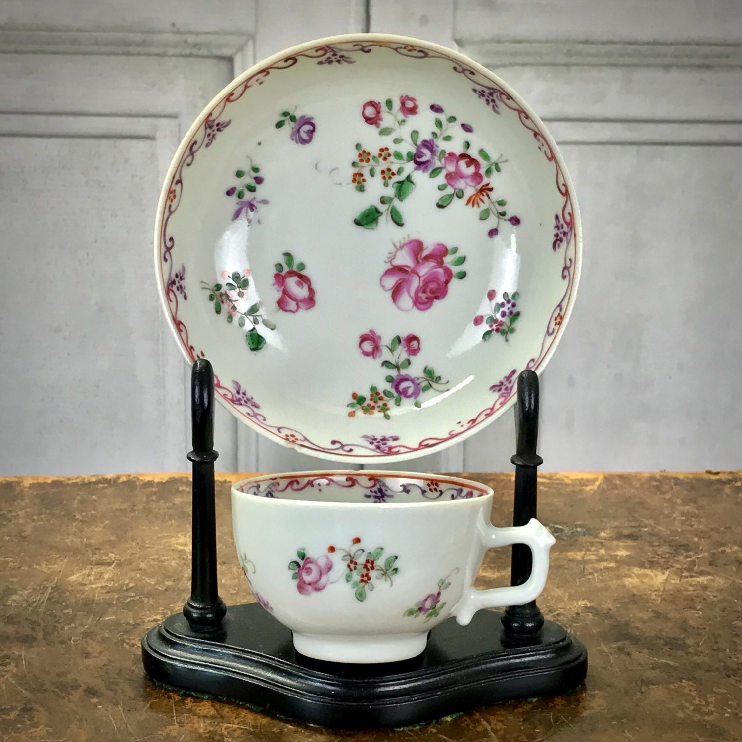 Chinese Export  Small Teacup & Saucer (d)