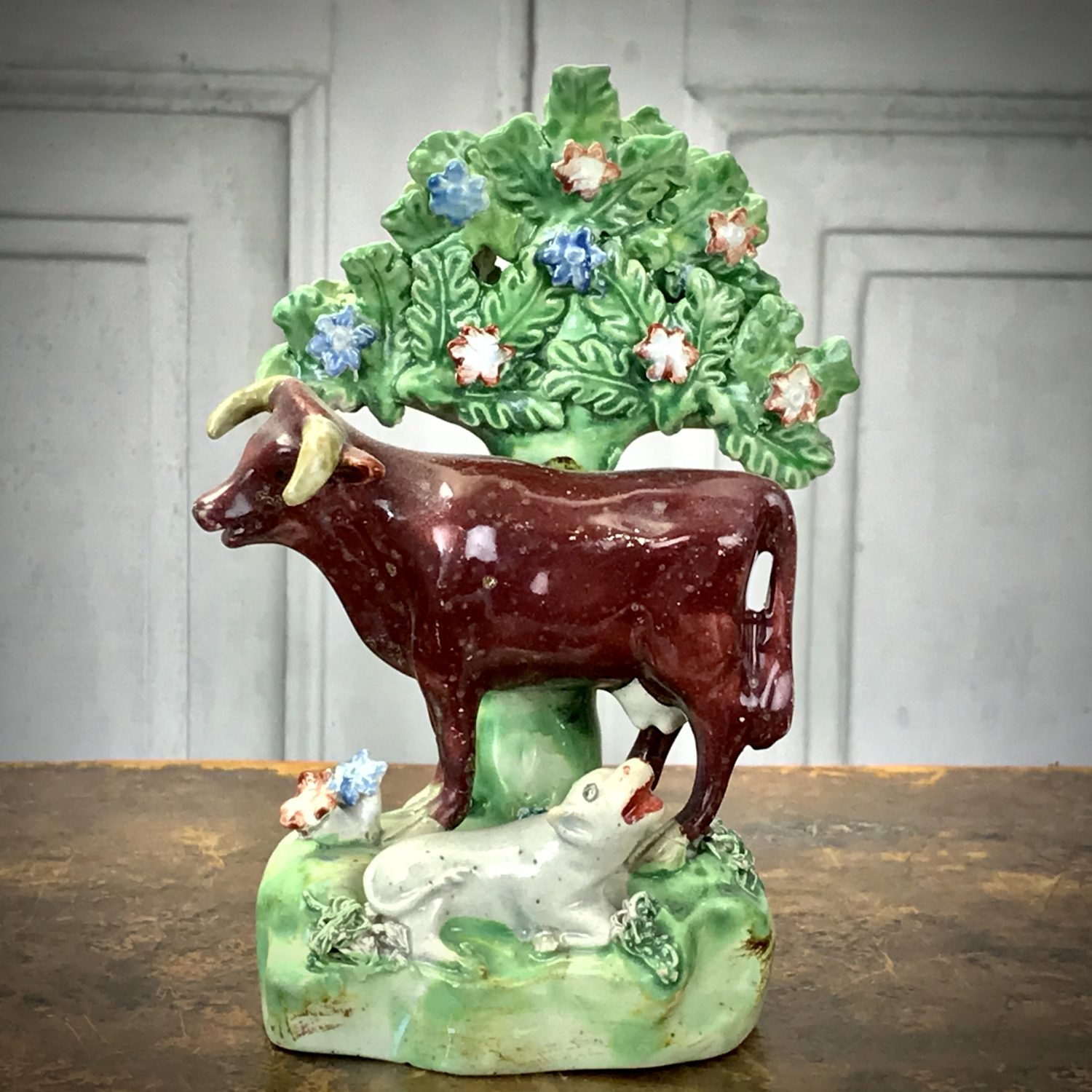 Staffordshire Pottery Cow & Calf With Bocage.