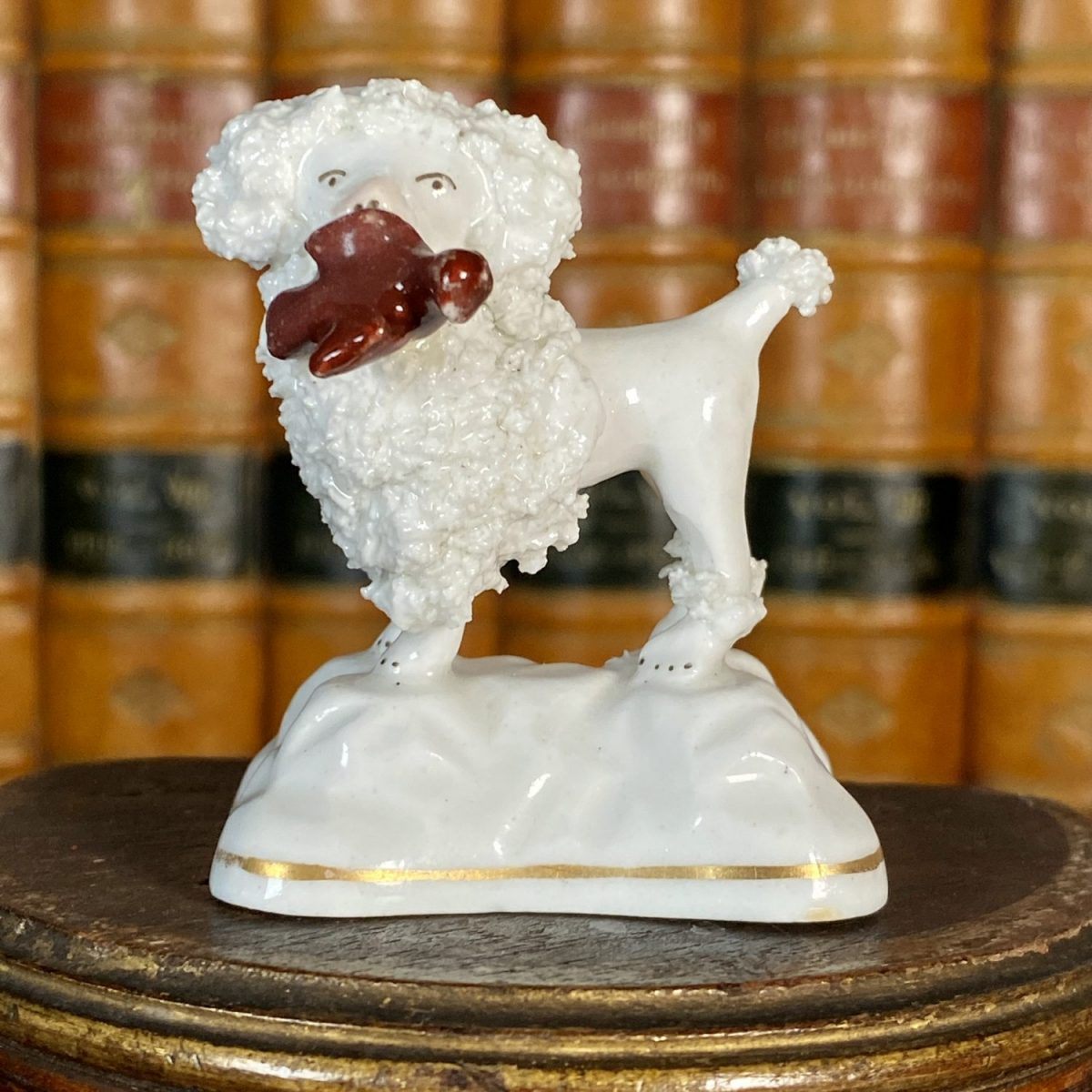 Staffordshire Miniature Poodle Holding a Bird