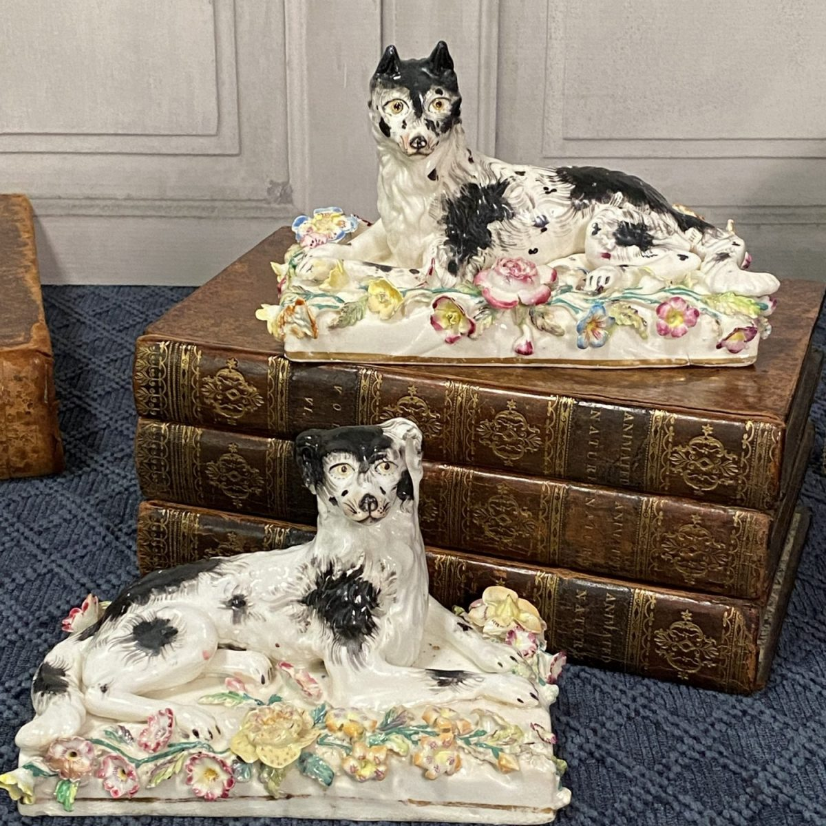 Pair of Staffordshire Dogs on Floral Bases.