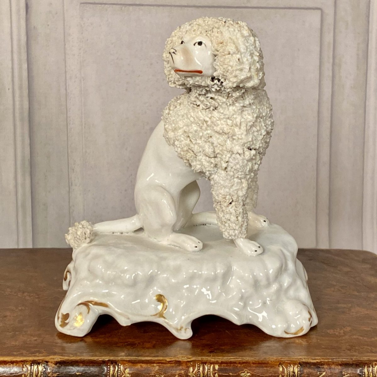 Staffordshire Porcelain Seated Poodle (lhs)
