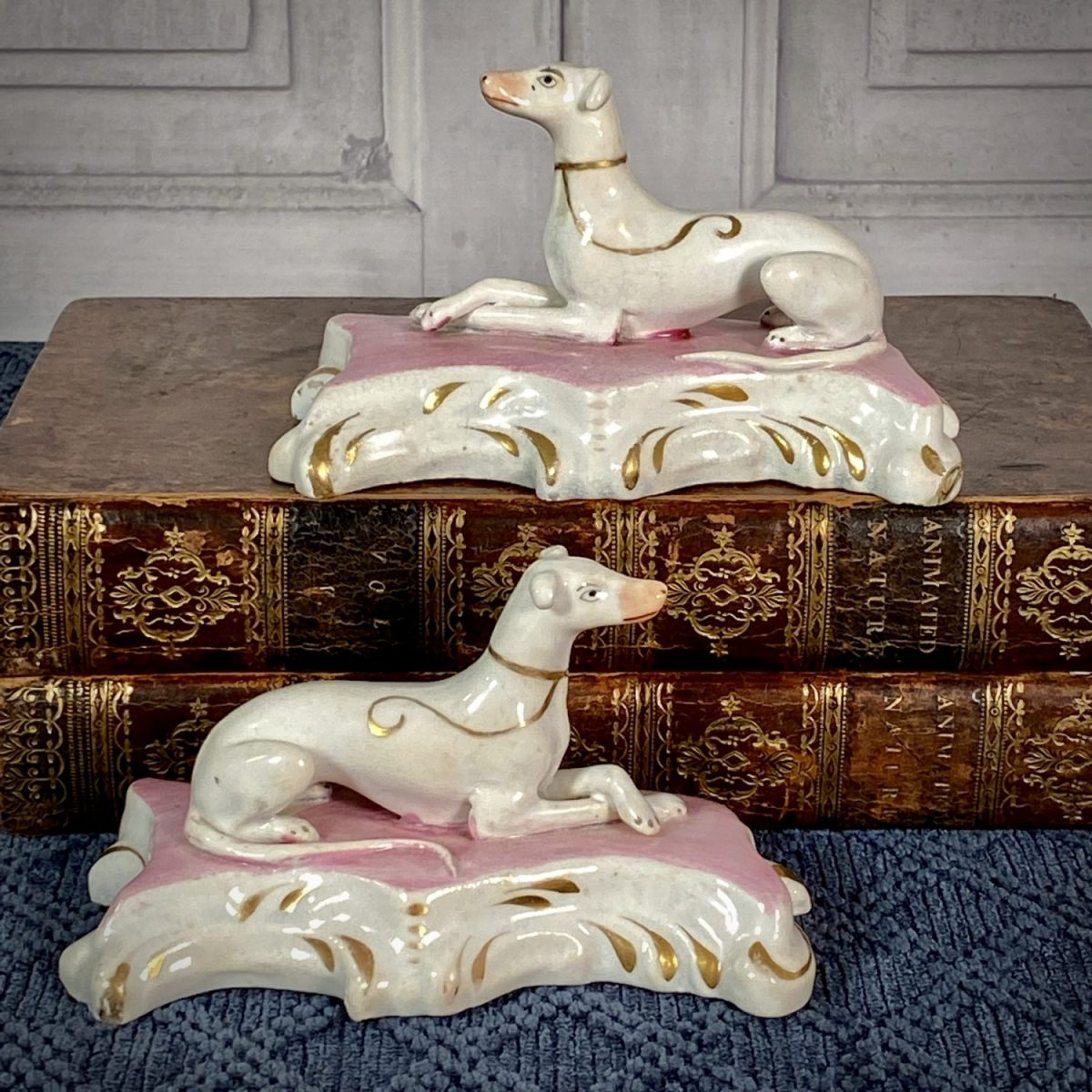 Pair of C19th Staffordshire Greyhounds.