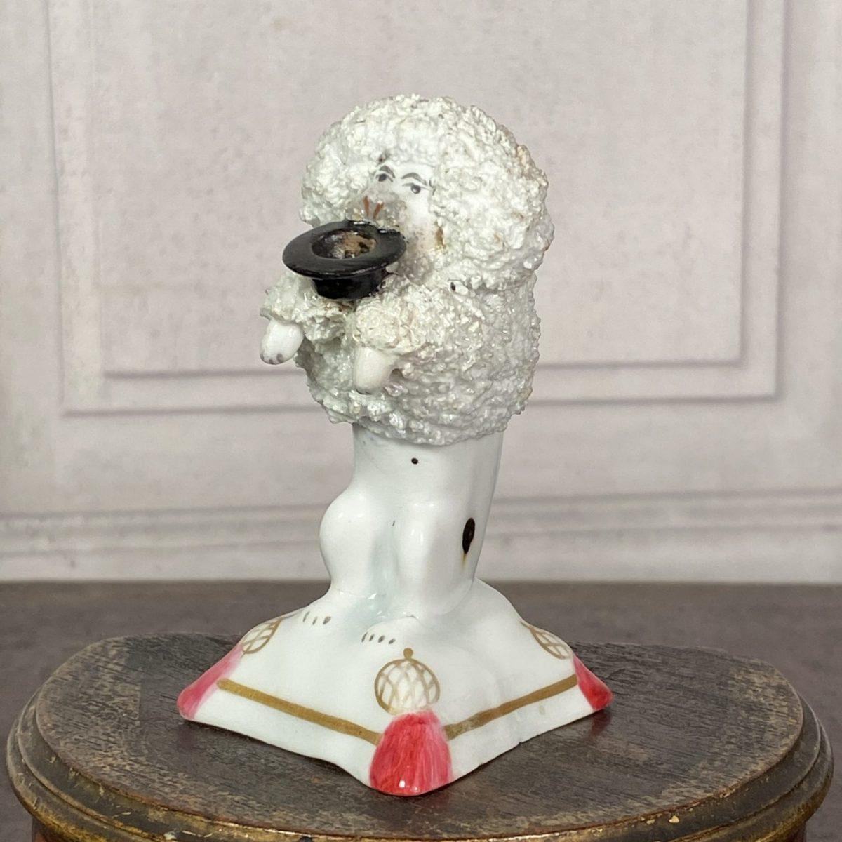 Staffordshire Porcelain Begging Poodle.
