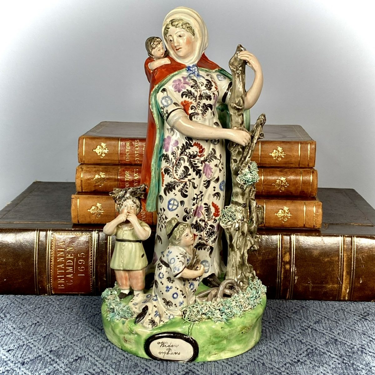 Large Staffordshire Figure Group – 'Widow and Orphans'