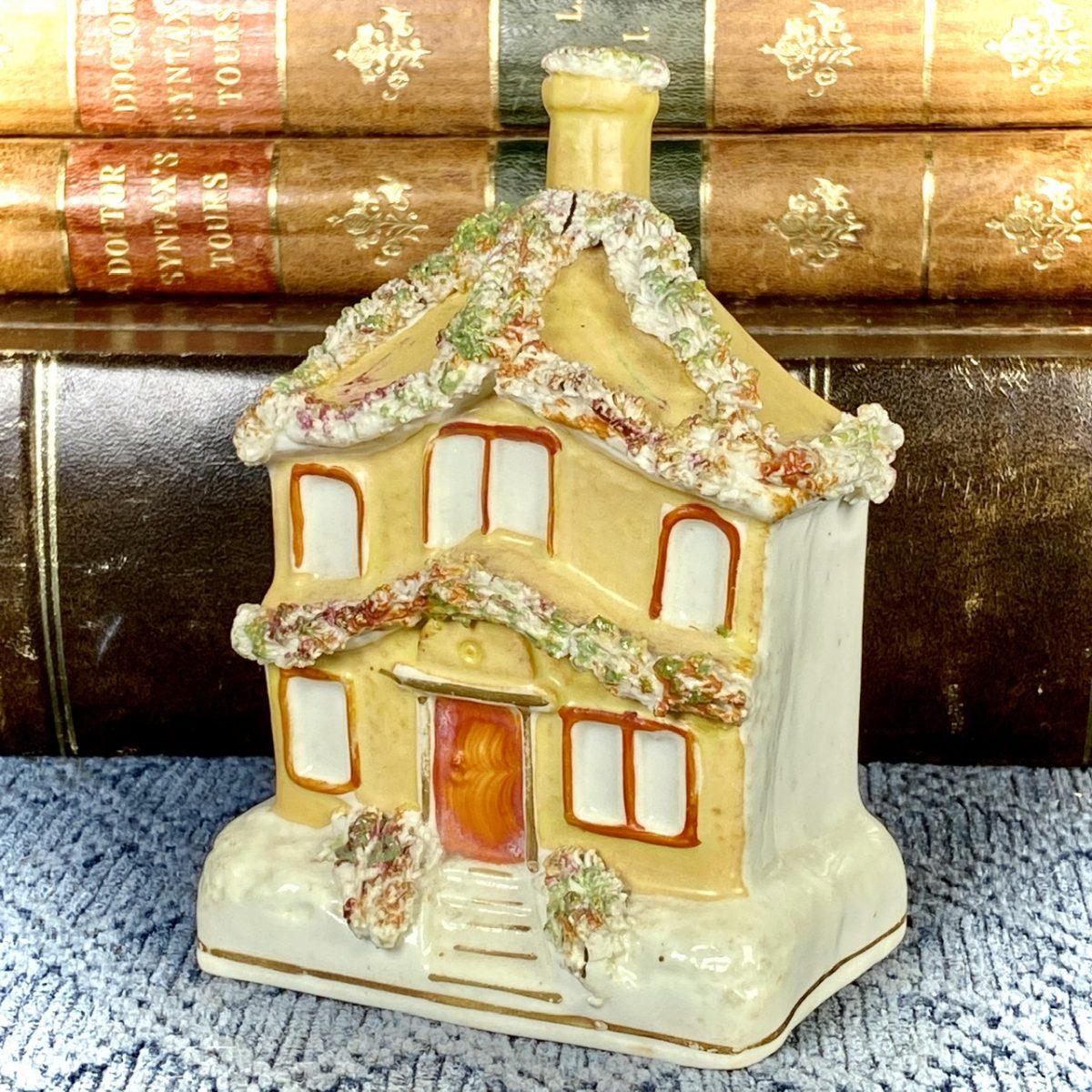 C19th Staffordshire Porcelain Cottage Pastille Burner.