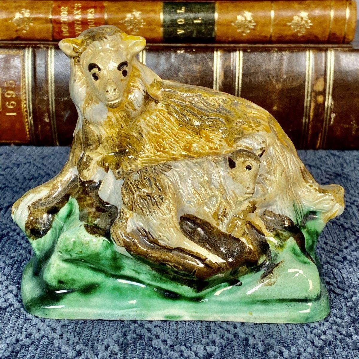 Early Staffordshire Pottery Ewe & Lamb.