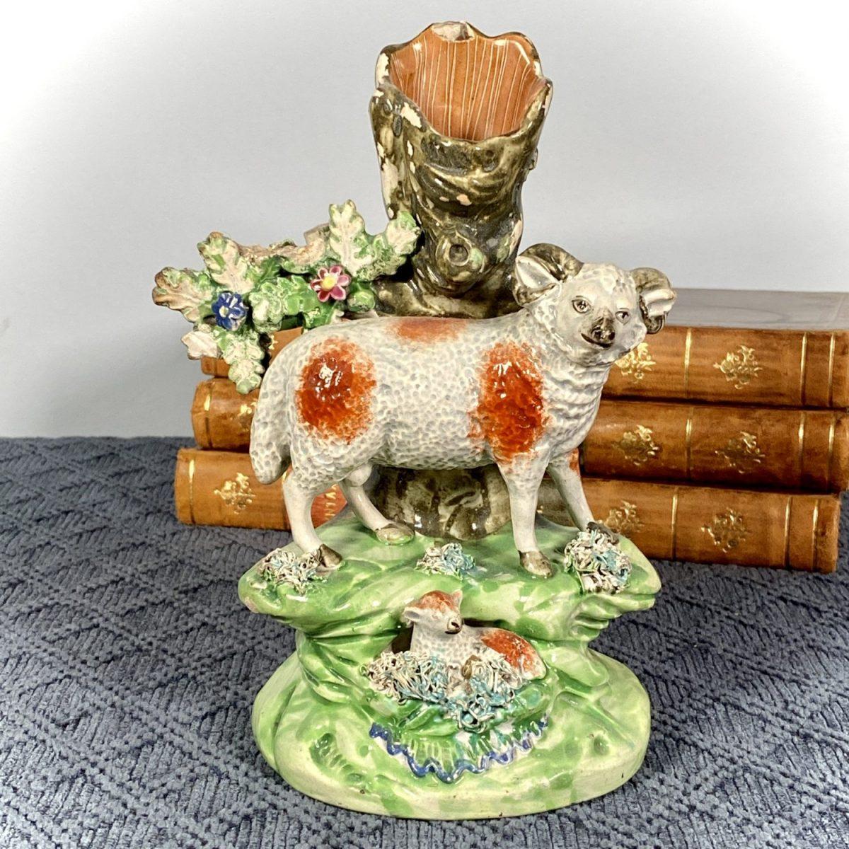 Early Staffordshire Ram & Lamb Spill Holder by John Walton. (af)