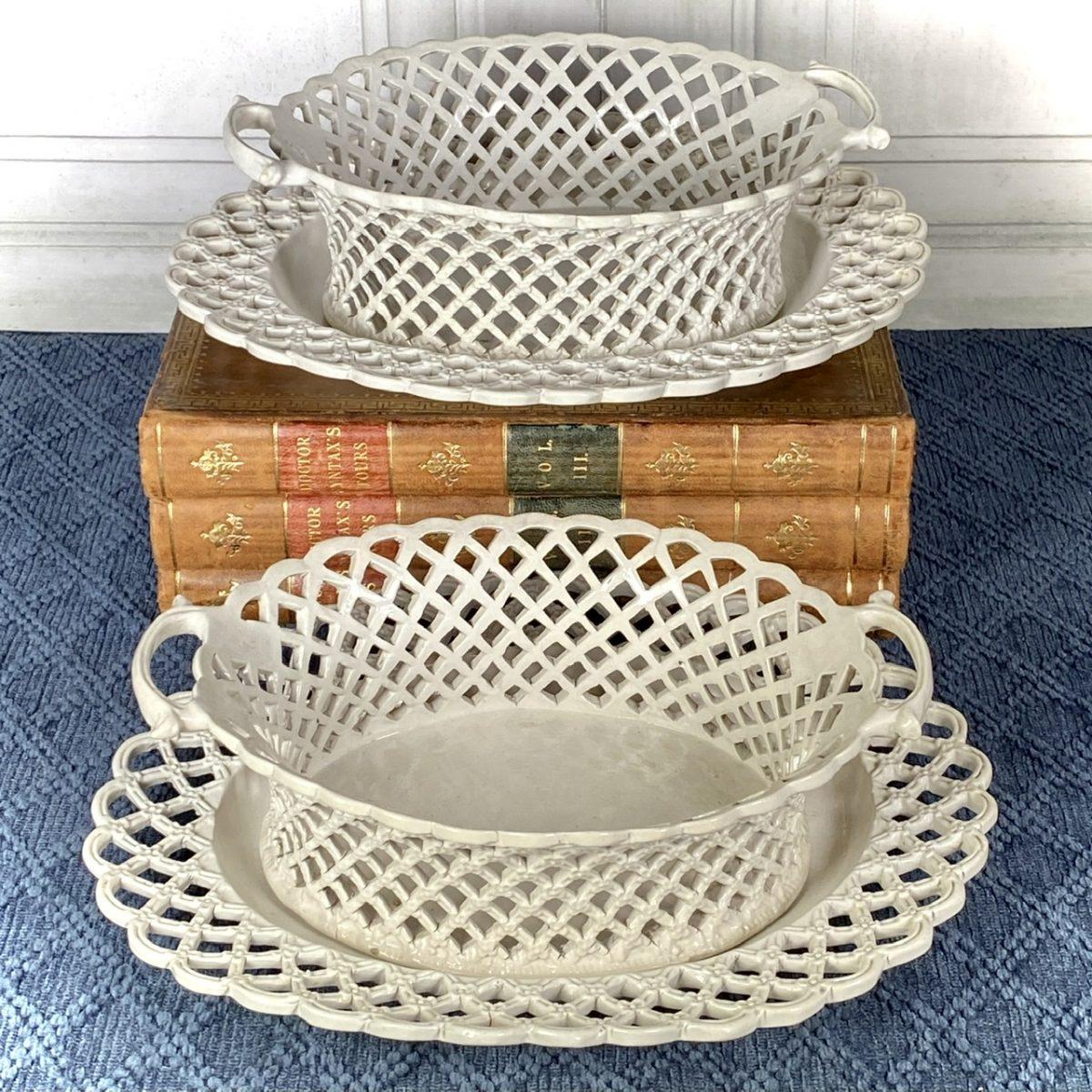 Pair of C18th English Saltglazed Stoneware baskets & Stands, c1760