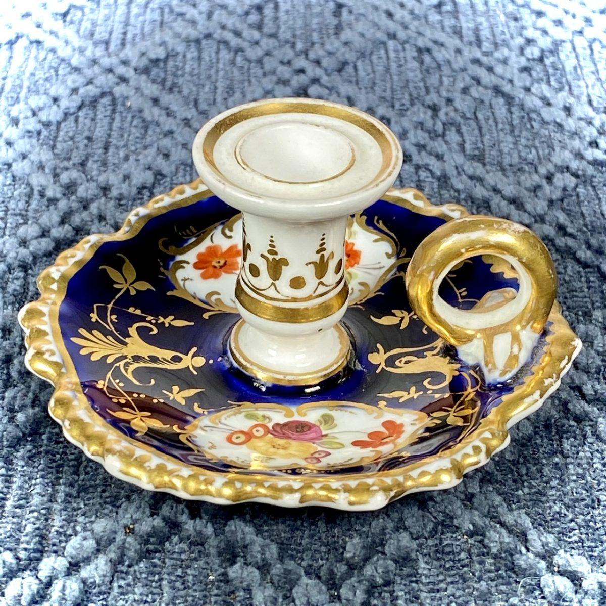 English Porcelain Blue Ground Miniature Chamberstick, c1830