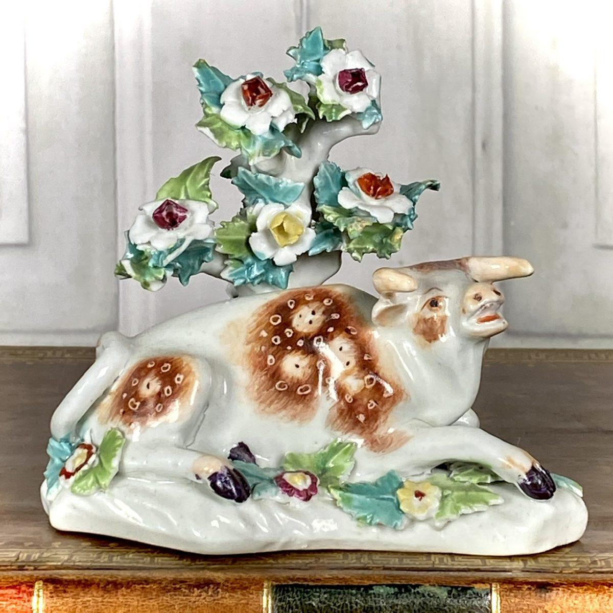 C18th Derby Porcelain Model of a Cow, c1765  (a)