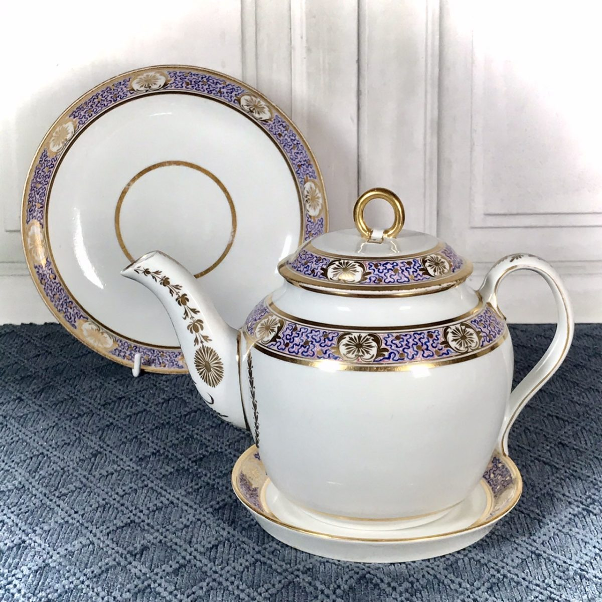 C18th Teapot & Stand + Saucer Dish, by Neale & Co