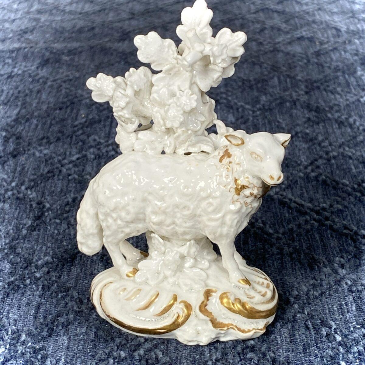 Derby Porcelain Sheep With Bocage.