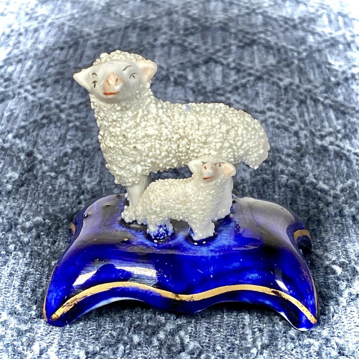 Miniature Staffordshire Sheep & Lamb.