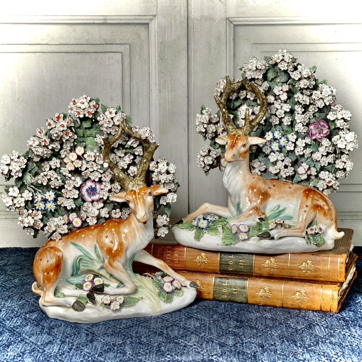 Pair of C18th Derby Porcelain Stags