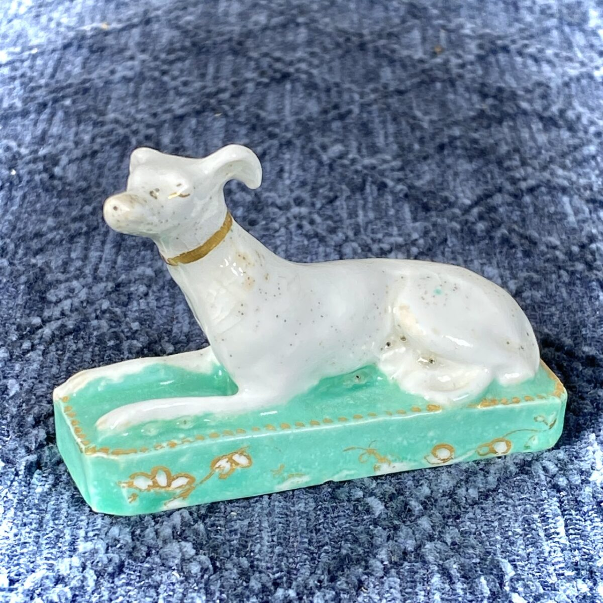 English Porcelain Miniature Model of a Whippet.