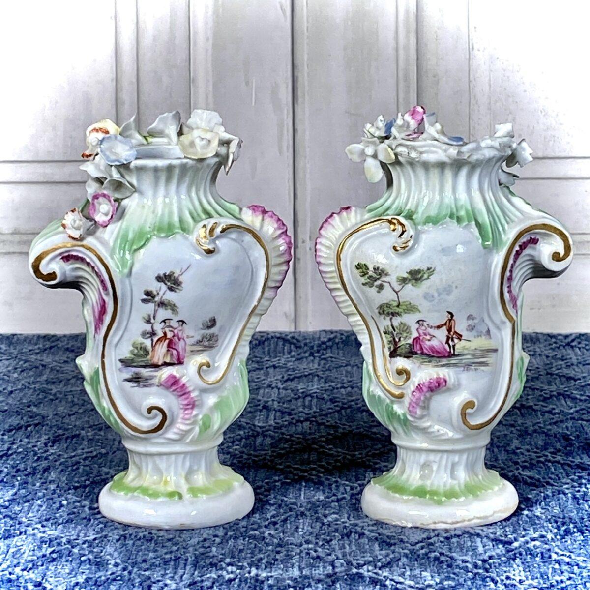 Pair of Longton Hall Porcelain Vases