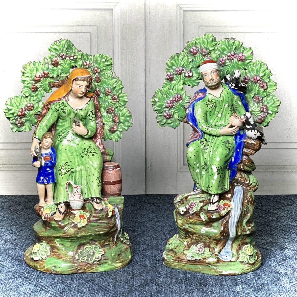 Early Staffordshire Pottery Figures – Elijah and Widow.